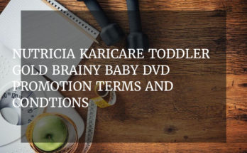 Nutricia Karicare Toddler Gold Brainy Baby DVD promotion terms and condtions